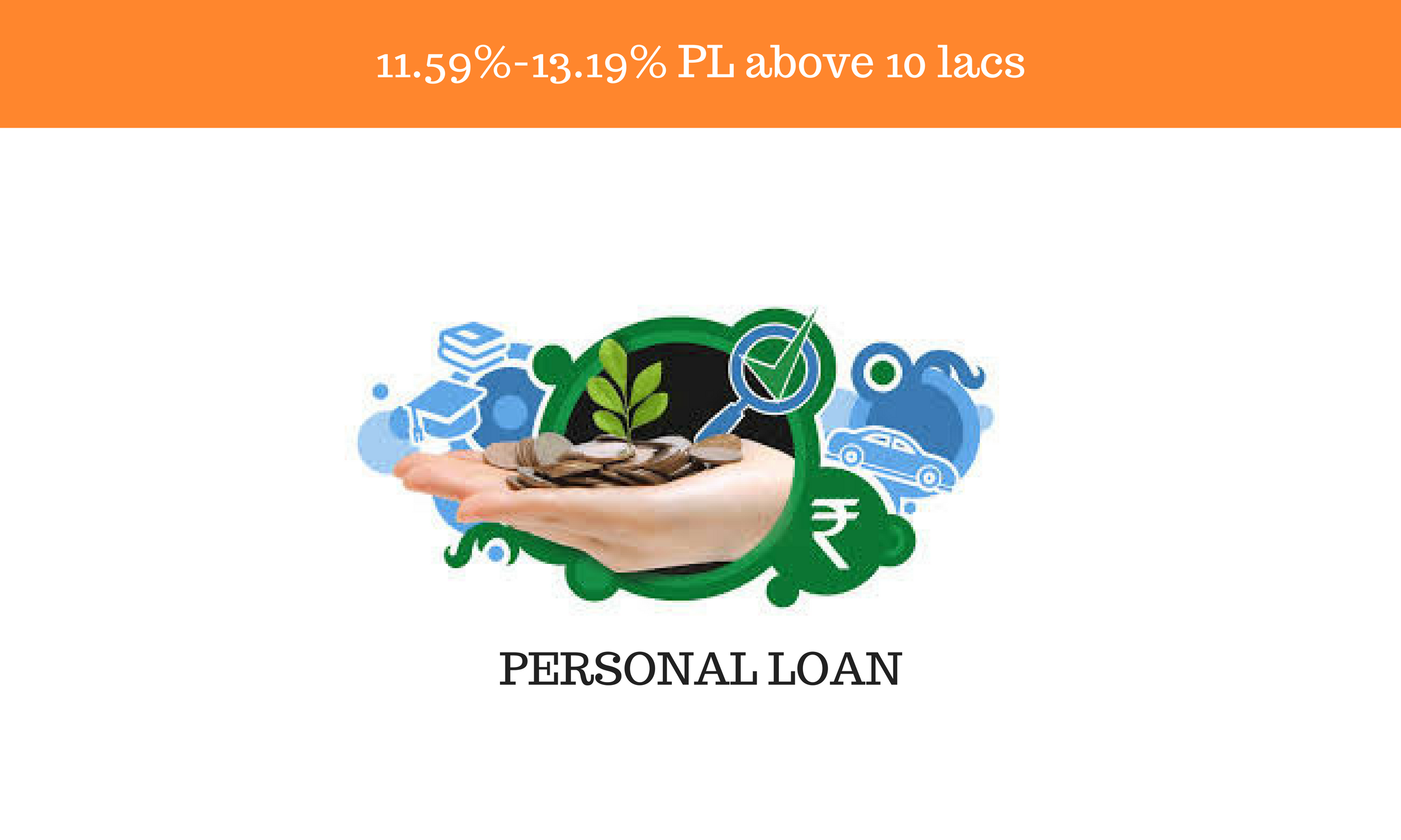 11.59% - 13.19% rate for PL above 10 lacs